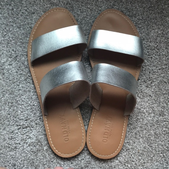 968a982c7e08 Old Navy metallic silver two strap sandal